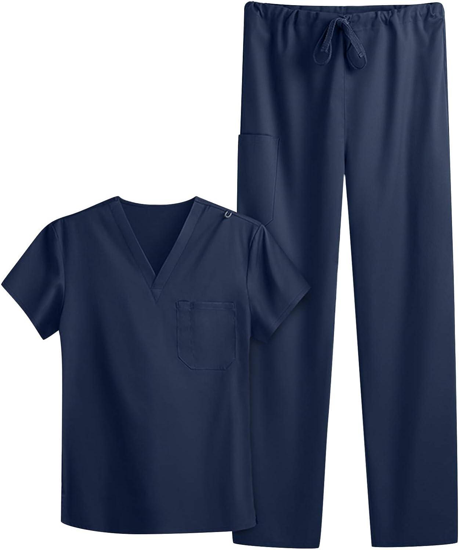 Sinzelimin Women's T-Shirt Pants Suit Nurse Working Uniform V-Neck Solid Color Short-Sleeved Pocket Carer Workers Suit