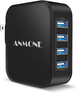 USB Wall Charger with Foldable Plug, ANMONE 4-port Portable Travel USB Charger Charging Station with Smart Technology 31W Power Adapter for compatible iPhone X/8/7/6, iPad Pro Air/Mini, Tablet (Black)