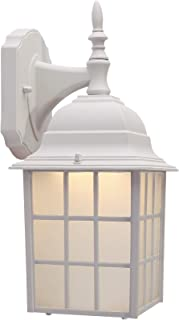 CO-Z White Exterior Light Fixtures Wall Mount, White Porch Light Outdoor Wall Lantern with LED Bulb, Outdoor Wall Light with Matte White Finish & Housing Plus Frosted Glass, ETL Certificated.