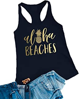acfd95529899e Aloha Beaches Tank Tops Vacation Bachelorette Party Funny Pineapple Letter  Print Vest Hawaiian Shirt for Women