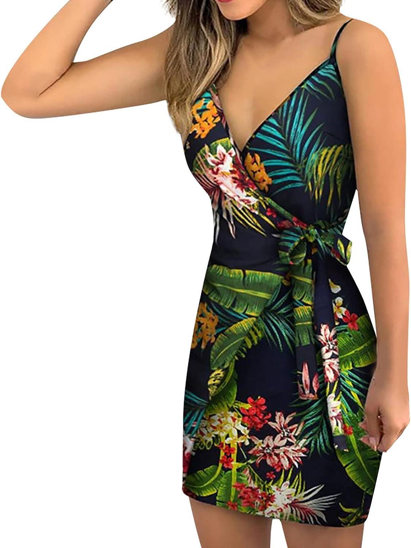 Women's Sexy Cross V Neck Floral Print Spaghetti Strap Slim Dress with Belt