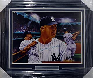 Mickey Mantle Autographed Framed 18x24 Lithograph Photo New York Yankees Beckett BAS #A20255