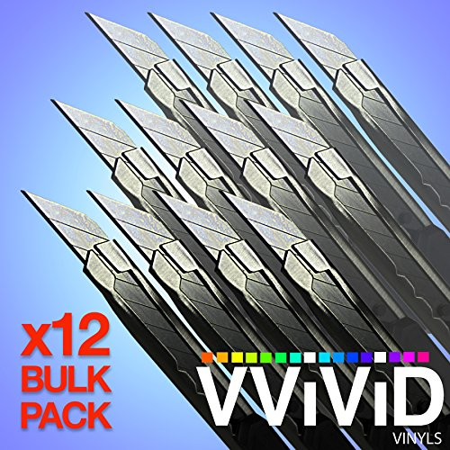 VViViD Stainless Steel Precision Cutting Knife with Lockable and Replaceable 30 Degree Acute Angle Blade 12 Pack