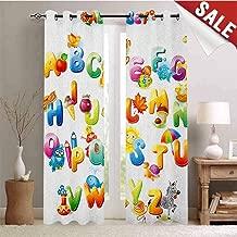 Hengshu Educational Window Curtain Drape Cheerful Cartoon Fun Alphabet Design for Kids Cute Font Preschool Kindergarten Customized Curtains W84 x L96 Inch Multicolor