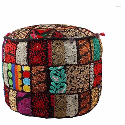 Puf redondo hecho a mano, otomano otomano de retazos indios bordado vintage indio de algodón redondo, puf otomano, estilo otomano, decoración vintage otomana bohemia (solo la funda)