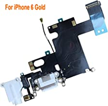 Johncase OEM Charging Port Dock Connector Flex Cable w/Microphone + Headphone Audio Jack Port Ribbon Replacement Part Compatible for iPhone 6 All Carriers (White)