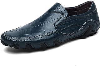 [つるかめ] カジュアルシューズ ドライビングシューズ ピーズの靴 革靴 メンズ 牛革 防滑 軽量 手作り スリッポン フラット 純色 イギリス風 就職面接 日常着用 四季