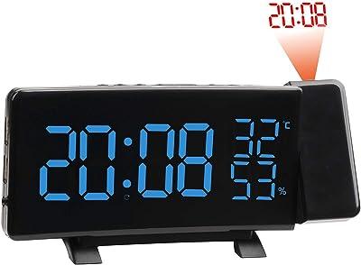 MachinYeser Reloj Despertador Multifuncional LED Digital Proyección electrónica con proyección de Tiempo con función de Radio