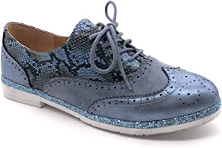 7130de1cd2f034 Angkorly - Chaussure Mode Derbies Tennis Femme imprimé Serpent Brillant  perforé Talon Bloc 2.5 CM