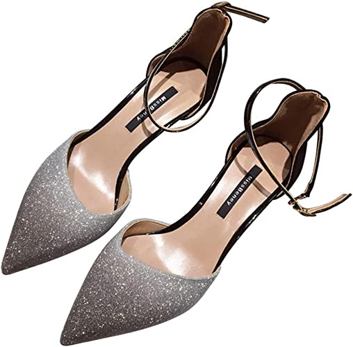 GTTchaussures Chaussures pour Femmes, Chaussures de Danse d'été Pointues à la Cheville avec Bride à Talon Aiguille et Sandales habillées pour Mariage