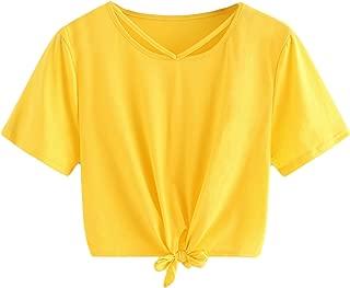 Women's Loose Short Sleeve Summer Crop T-Shirt Tops Blouse