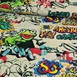 Stoffe Werning Dekostoff Digitaldruck Graffiti Frosch bunt