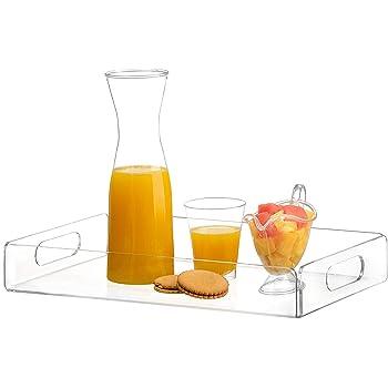 acrylic tray tea tray and coffee table tray breakfast tray Clear Acrylic Serving Tray with Handles