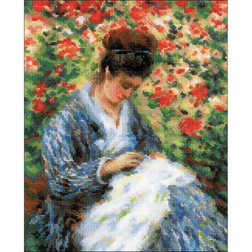 RIOLIS Premium 100/051 - Camille Monet After C. Monet's Painting- Counted Cross Stitch Kit