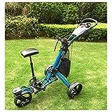 JLDN Chariot Golf 3 Roues, Chariot de Golf avec Le siège Porte-Parapluie Porte-gobelet Golf Cart Frein Au Pied Pliant,Blue