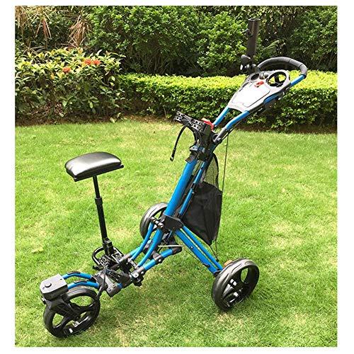 JLDN Golftrolley 3 Rad, Golfwagen mit dem Sitz Regenschirmhalter Becherhalter Golf Cart fussbremse Faltbar,Blue
