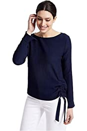 NEW M/&S PER UNA Textured Satin V-Neck Long Sleeve Blouse