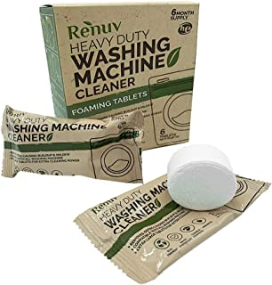 Renuv Washing Machine Cleaner for Front Load, Top Load or HE, Slow Dissolving Huge 40 oz Eco Friendly Tablets for Maximum Effect Deep Clean Your Washer Where Others Fail