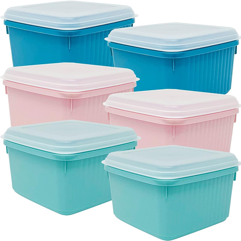 Codil Juegos de Recipientes Plásticos para Alimentos,Tapers Cuadrado Reutilizables Sin BPA con Tapa Flexible a Presión,Apto para Microondas Lavavajillas y Congelador(Rosa Verde y Azul, 6 x 2L)