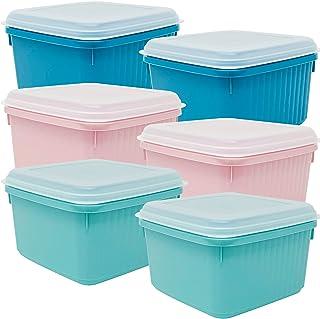 Codil Lot de boîtes en plastique pour aliments, tapis carrés réutilisables sans BPA avec couvercle flexible à pression, co...
