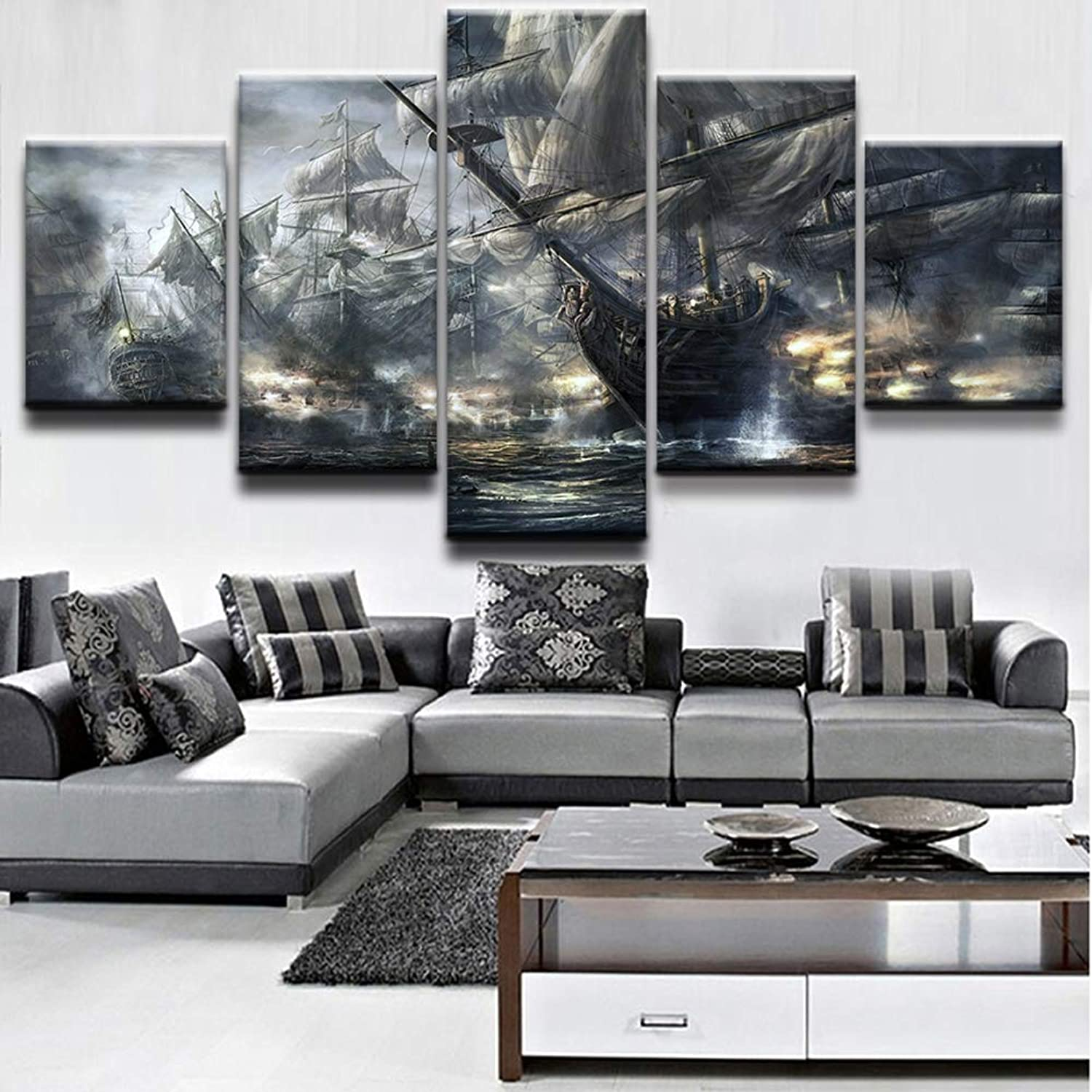 Canvas Wall Art Picture 5 Panel Ships On The Sea Modern Paintings Home Decoration Living Room Canvas Print Modern Painting