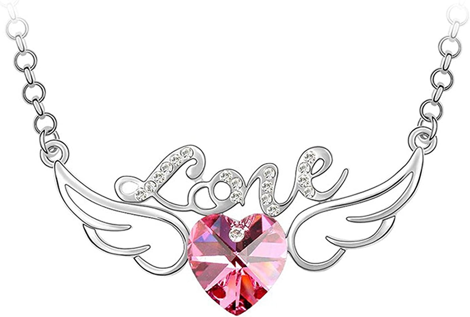 Top New Elements Woman Crystal Angel/'s Wings Stud Earrings White Gold Plated