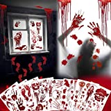 EPN Bloody Sticker 114PCS Halloween Party Decorations Stickers Bloody Hand/Footprints Bloodstains Clings Scary Zombie Halloween Party Indoor/Outdoor Halloween Floor Window Clings 8 Sheets