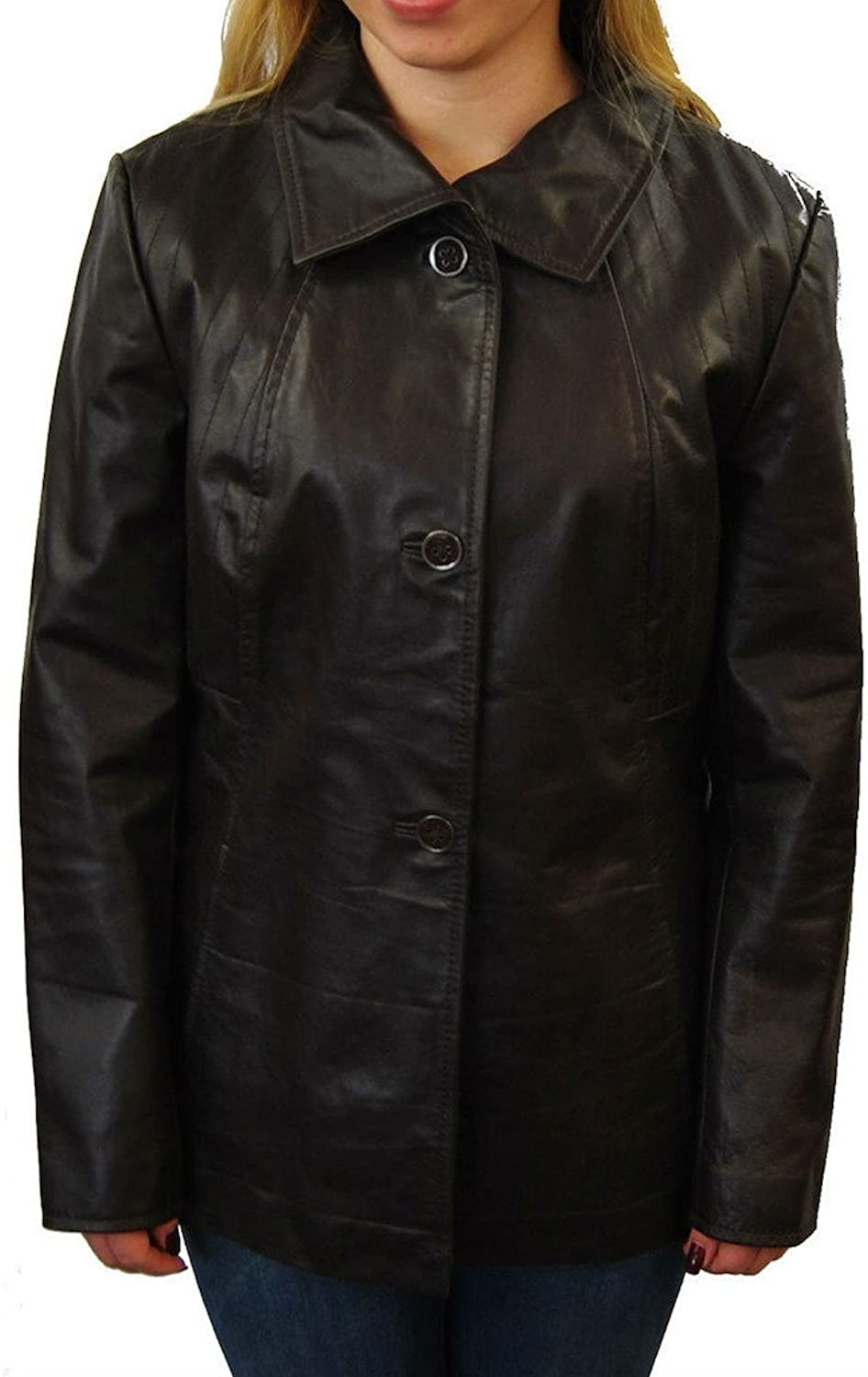 Fadcloset Womens Brown Leather Coat
