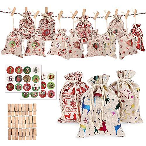 knowledgi DIY Calendario De Adviento, Set De 24 Bolsas De Yute para Rellenar con Calendario De Adviento Casero, Bolsa De Regalo Navidad Decoración Navideña para El Hogar