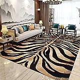 La Alfombra alfombras Infantiles Lavables Suave y fácil de Limpiar Sala de Estar marrón marrón Negro Textura de Cebra Alfombra para Salon Alfombra Comedor 140*200cm