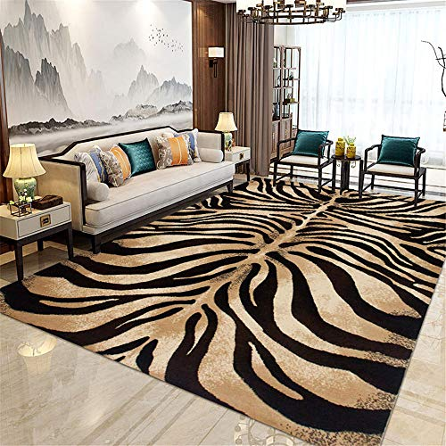 La Alfombra alfombras recibidor Suave y fácil de Limpiar Sala de Estar marrón marrón Negro Textura de Cebra Alfombra bebé Decoracion hogar Salon 200*300cm