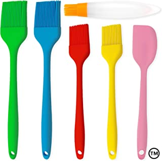 Pastry Brush Silicone Cooking Set - Pack of 4 Pcs Different Sized Pastry Brushes 1 Spatula 1 Bottle Brush with Cap-Oil But...