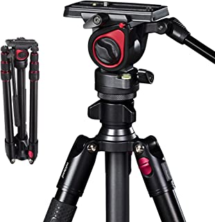 miliboo MUFA Professional Aluminum Portable T Camera Video Tripod with Hydraulic Head Tripod Stand
