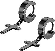 Flongo Men's Womens Vintage Stainless Steel Silver Cross Dangle Hinged Hoop Earrings, Stainless Steel Hoop Huggie Earrings Cross Drop Dangle Earrings