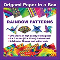 Origami Paper in a Box Rainbow Patterns: 200 Sheets of Tuttle Origami Paper: 6x6 Inch High-quality Origami Paper Printed With 12 Different Patterns: 32-page Instructional Book of 12 Projects (Origami Paper 6 Inch)