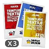 Set di 3sacchetti di tintura–Blu, Rosso e Giallo–Coloranti universali, Tie Dye, batik, Shibori