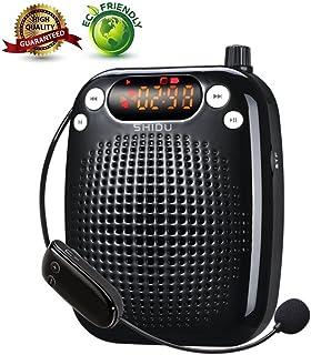 Amplificador de voz, SHIDU Amplificador de voz inalámbrico Sistema de PA portátil recargable con micrófono para auriculares para maestros,guías turísticos,entrenadores para actividades al aire libre