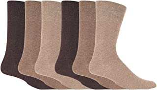 IOMI - 6 Pack Mens Non Elastic Cotton Diabetic Socks with Hand Linked Toe Seams