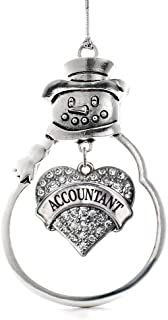 Inspired Silver - Accountant Charm Ornament - Silver Pave Heart Charm Snowman Ornament with Cubic Zirconia Jewelry