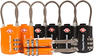 8 Pack TSA Approved Travel Combination Cable Luggage Locks for Suitcases - 4 Black & 4 Orange