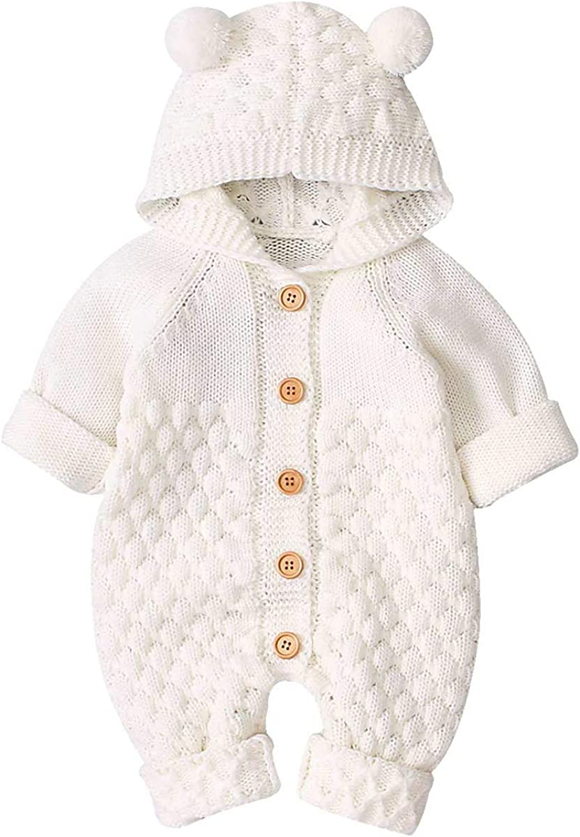 Camidy Baby Boy Girl Knitted Romper Outfits Infant Hoodie Sweater Bear Jumpsuit Overalls One-piece Bodysuit Outerwear