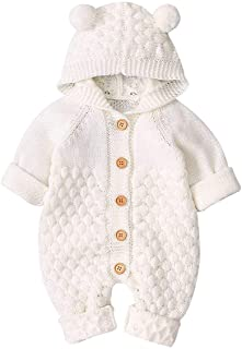 SOONHUA Neugeborene Kapuze Stricken Cartoon Bär Ohr Jumpsuit Kleinkind Overalls Einteiler Bodysuit für Baby Jungen Mädchen