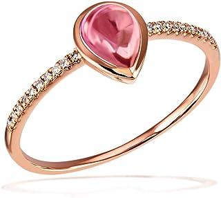 Goldmaid 女式 14 k (585) 红色金色梨形白色粉红碧玺钻石饰面