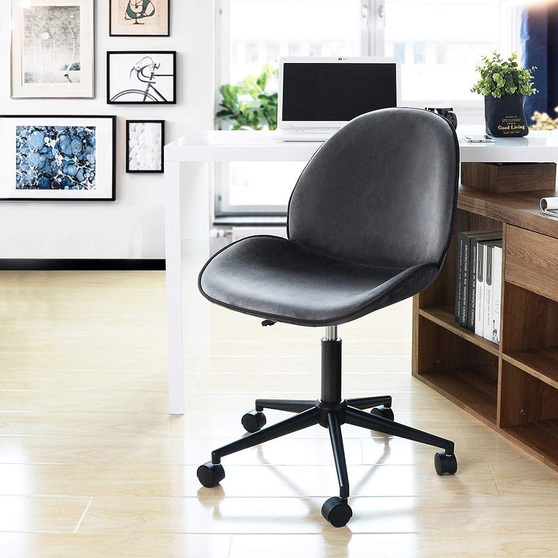 HOMY CASA Office Chair Ergonomic Home Office Desk Chair Mid Back Velvet Upholstery Swivel Task Chair,Grey