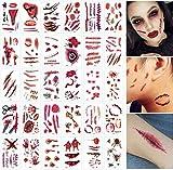 Tatuajes de Cicatrices de Halloween, 10 * 30 Hojas Tatuajes temporales de Halloween Cicatrices de Zombis Tatuajes Pegatinas Suministros de Fiesta de Zombis