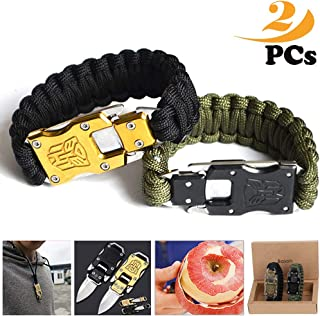 BASON Survival Bracelets,New Outdoor Small Tool Bracelet,Adjustable Survival Paracord Bracelet Fits Men Women Kids for Hiking,Camping,Boating Emergency or Other Outdoor Activities.2Pack