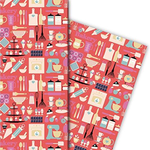 Kartenkaufrausch Hobby kok cadeaupapier set met kookapparaten voor leuke cadeauverpakking, designpapier, scrapbooking 32 x 48 cm, decoratiepapier, inpakpapier in roze