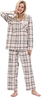 Pajama Set Women Long Sleeve Sleepwear Classical Plaid Soft Plush Fleece Button-Front Warm Sleepwear