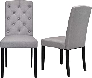 Giantex Set of 2 Fabric Dining Chairs, 2 PCS Armless Side Chairs, Upholstered Cushion & Solid Rubber Wooden Legs, Button-Tufted Sponge Backrest, Mid Century Style, Home Kitchen Living Room (Gray)