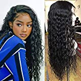 Reaktack Water Wave Lace Front Wigs Human Hair 9A 150% Density 13X4 Brazilian Wet and Wavy Virgin Human Hair Lace Frontal Wigs Pre Plucked with Baby Hair(16 Inch)